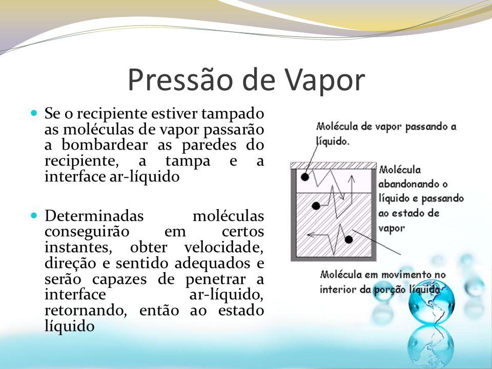 Pressão de Vapor Se o recipiente estiver tampado as moléculas de vapor passarão a bombardear as paredes do recipiente, a tampa e a interface ar-líquid