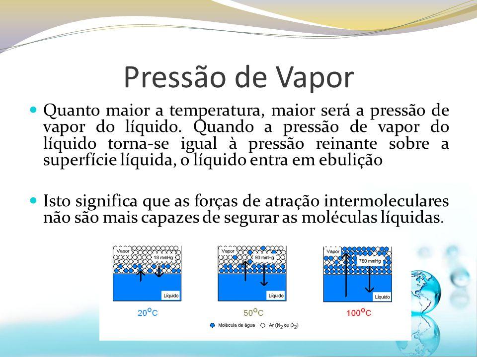 Pressão de Vapor Quanto maior a temperatura, maior será a pressão de vapor do líquido. Quando a pressão de vapor do líquido torna-se igual à pressão r