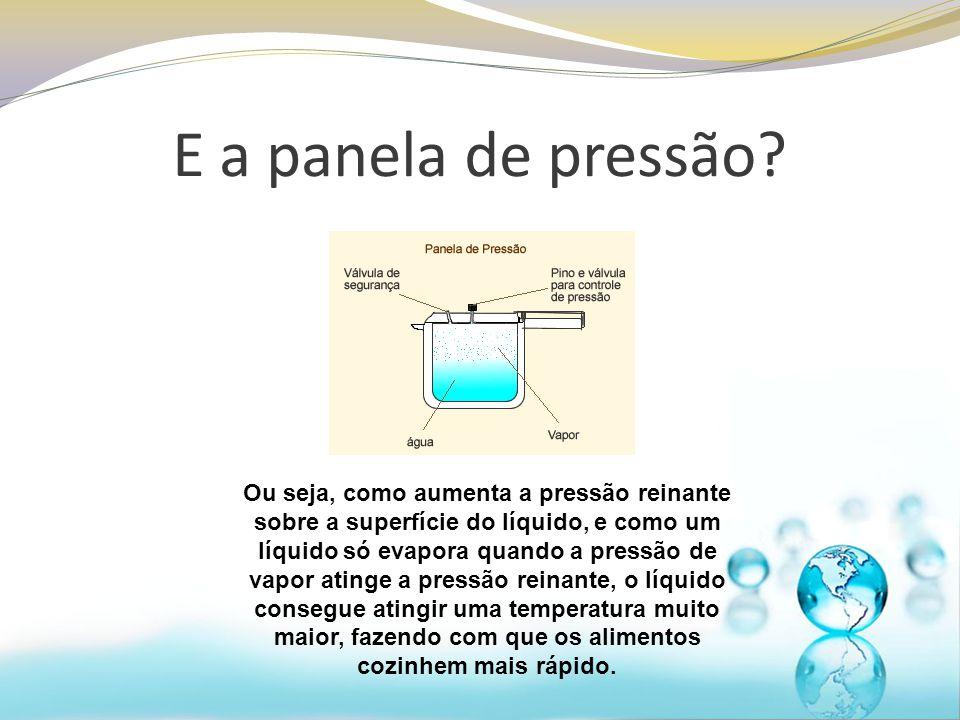 E a panela de pressão? Ou seja, como aumenta a pressão reinante sobre a superfície do líquido, e como um líquido só evapora quando a pressão de vapor