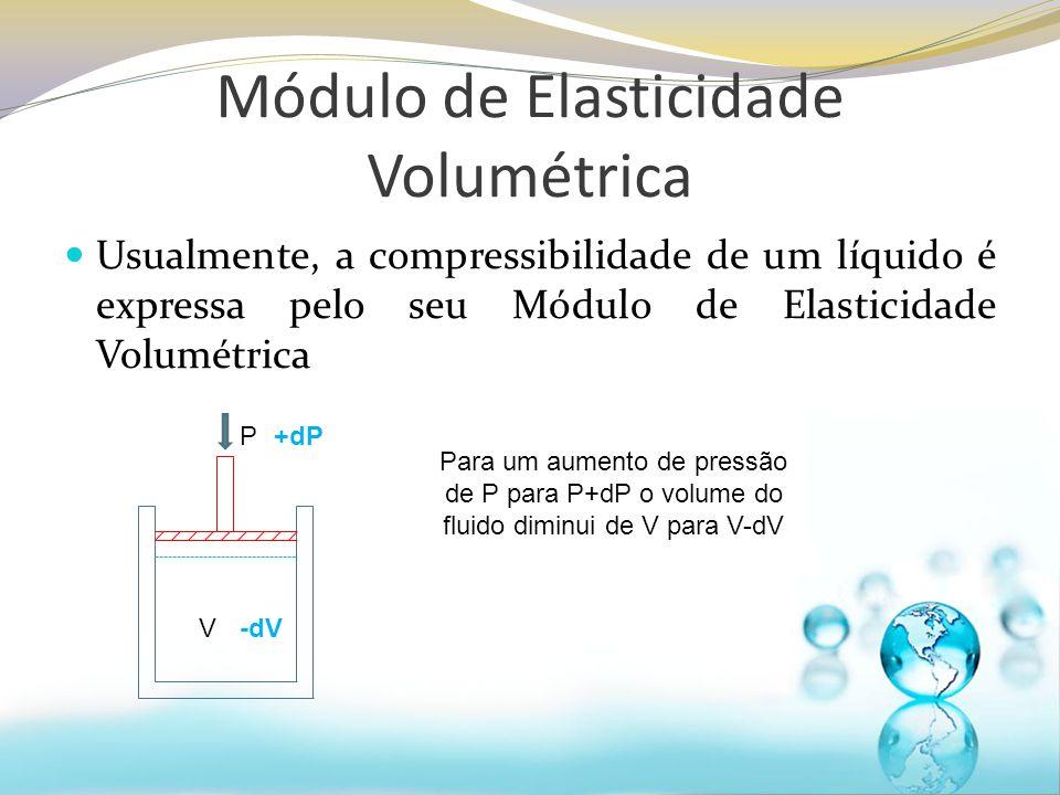Módulo de Elasticidade Volumétrica Ou seja, para um acréscimo de pressão ocorrerá um decréscimo de volume vice-versa Estabelece-se a relação Módulo de elasticidade volumétrica: Unidades de pressão