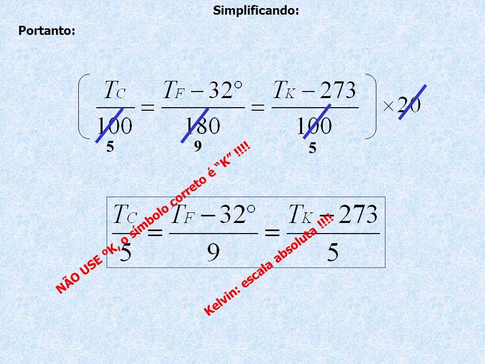 Portanto: Simplificando: K e l v i n : e s c a l a a b s o l u t a .