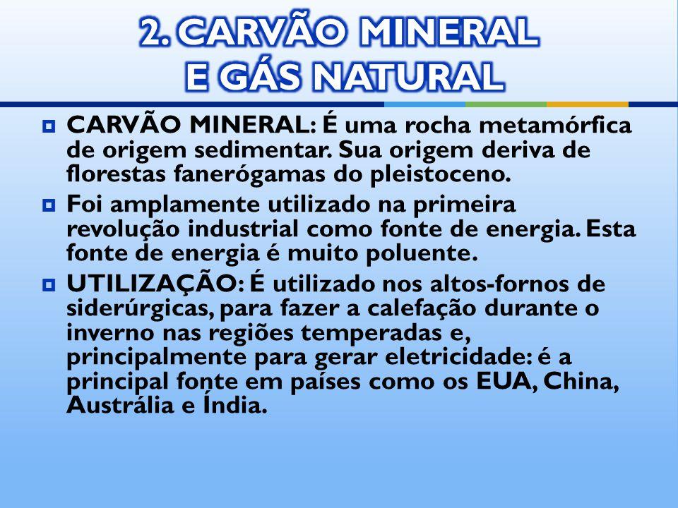 CARVÃO MINERAL: É uma rocha metamórfica de origem sedimentar. Sua origem deriva de florestas fanerógamas do pleistoceno. Foi amplamente utilizado na p