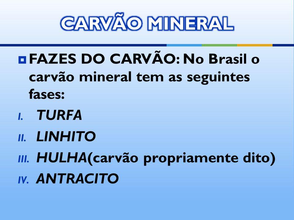 FAZES DO CARVÃO: No Brasil o carvão mineral tem as seguintes fases: I. TURFA II. LINHITO III. HULHA(carvão propriamente dito) IV. ANTRACITO