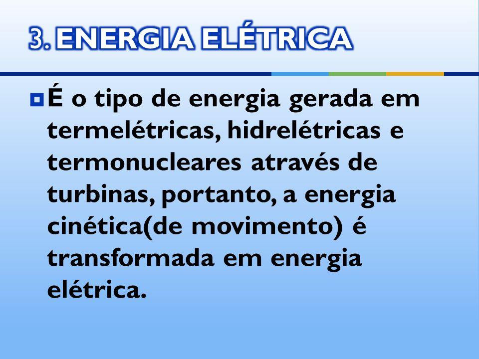 É o tipo de energia gerada em termelétricas, hidrelétricas e termonucleares através de turbinas, portanto, a energia cinética(de movimento) é transfor