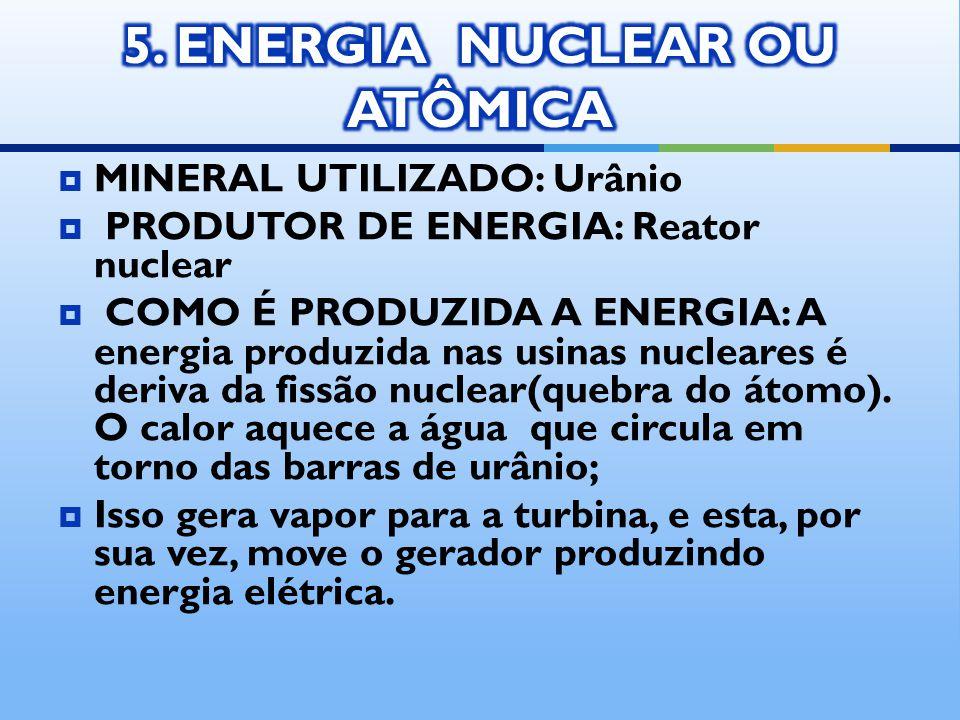 MINERAL UTILIZADO: Urânio PRODUTOR DE ENERGIA: Reator nuclear COMO É PRODUZIDA A ENERGIA: A energia produzida nas usinas nucleares é deriva da fissão