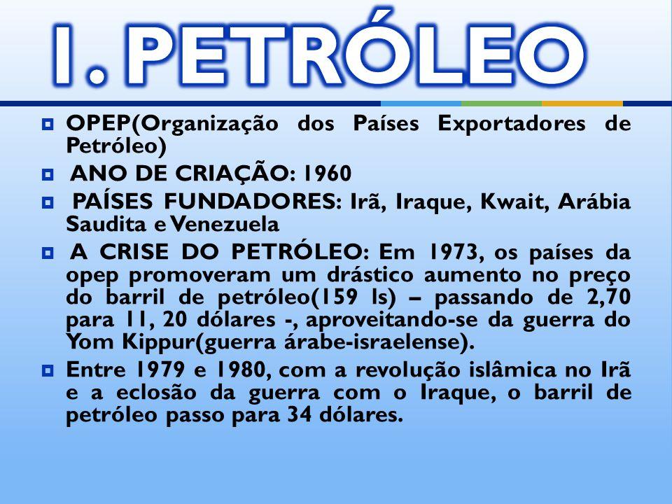 OPEP(Organização dos Países Exportadores de Petróleo) ANO DE CRIAÇÃO: 1960 PAÍSES FUNDADORES: Irã, Iraque, Kwait, Arábia Saudita e Venezuela A CRISE D