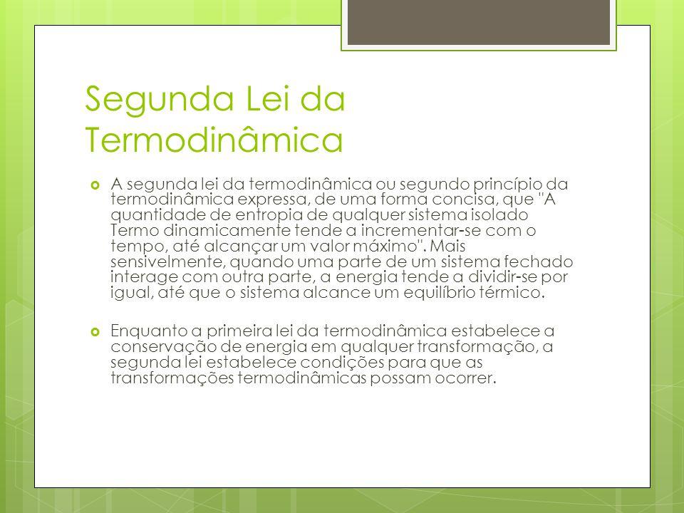 Segunda Lei da Termodinâmica A segunda lei da termodinâmica ou segundo princípio da termodinâmica expressa, de uma forma concisa, que
