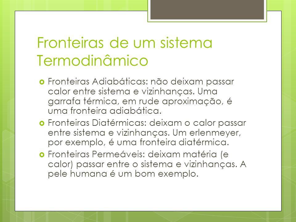 Fronteiras de um sistema Termodinâmico Fronteiras Adiabáticas: não deixam passar calor entre sistema e vizinhanças. Uma garrafa térmica, em rude aprox