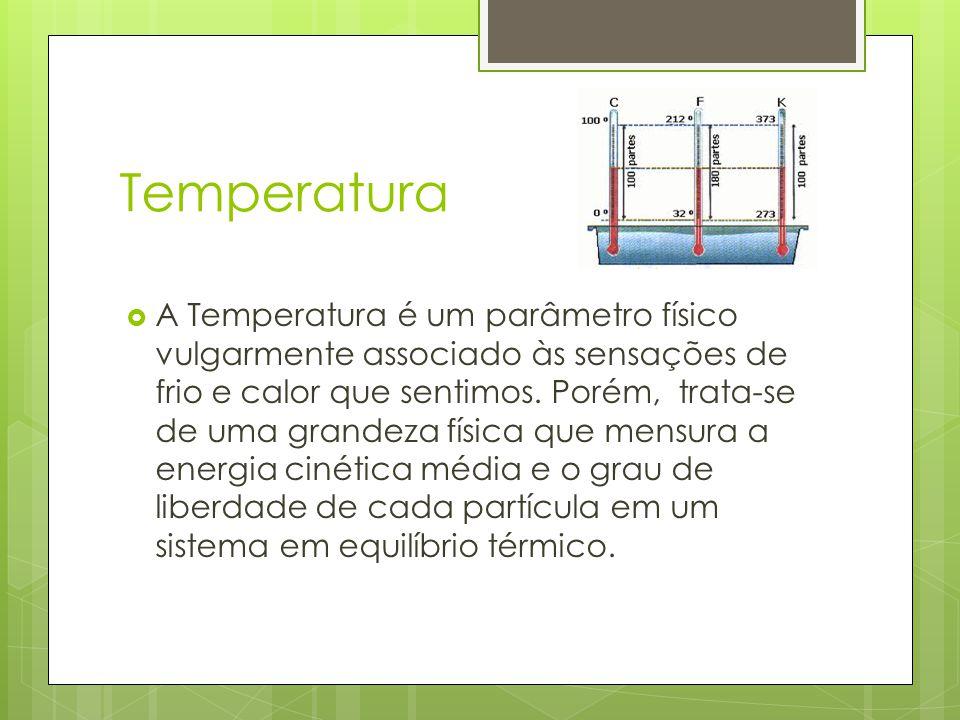 Temperatura A Temperatura é um parâmetro físico vulgarmente associado às sensações de frio e calor que sentimos. Porém, trata-se de uma grandeza físic
