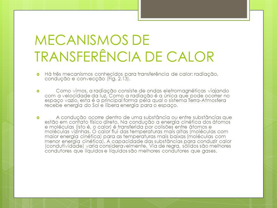 MECANISMOS DE TRANSFERÊNCIA DE CALOR Há três mecanismos conhecidos para transferência de calor: radiação, condução e convecção (Fig. 2.13). Como vimos