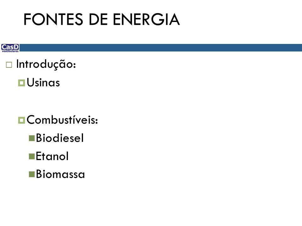 FONTES DE ENERGIA Introdução: Usinas Combustíveis: Biodiesel Etanol Biomassa