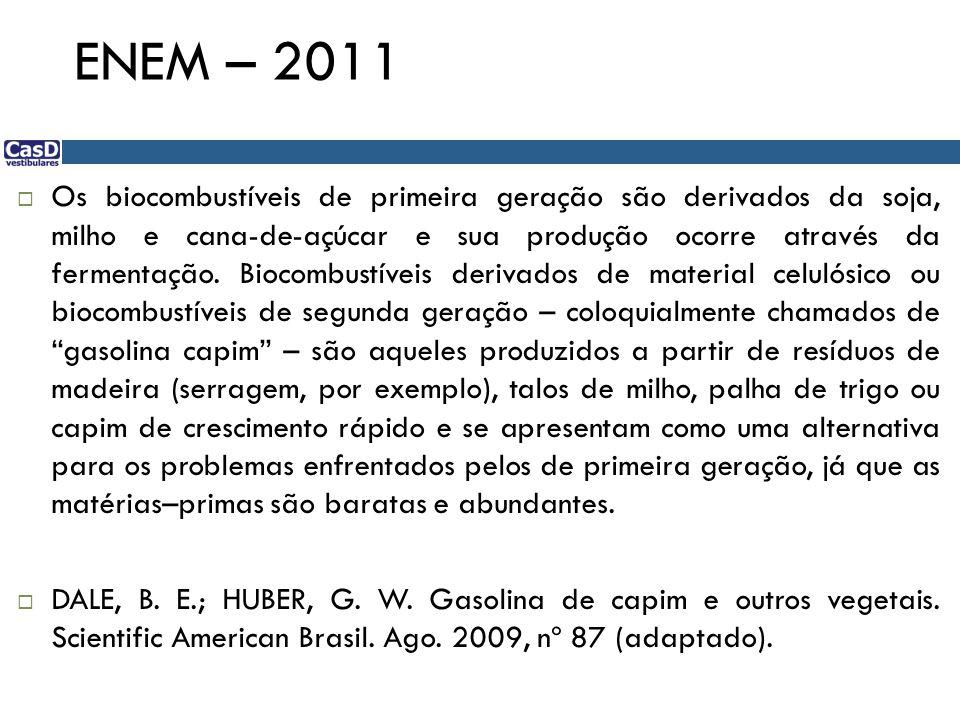 ENEM – 2011 Os biocombustíveis de primeira geração são derivados da soja, milho e cana-de-açúcar e sua produção ocorre através da fermentação.