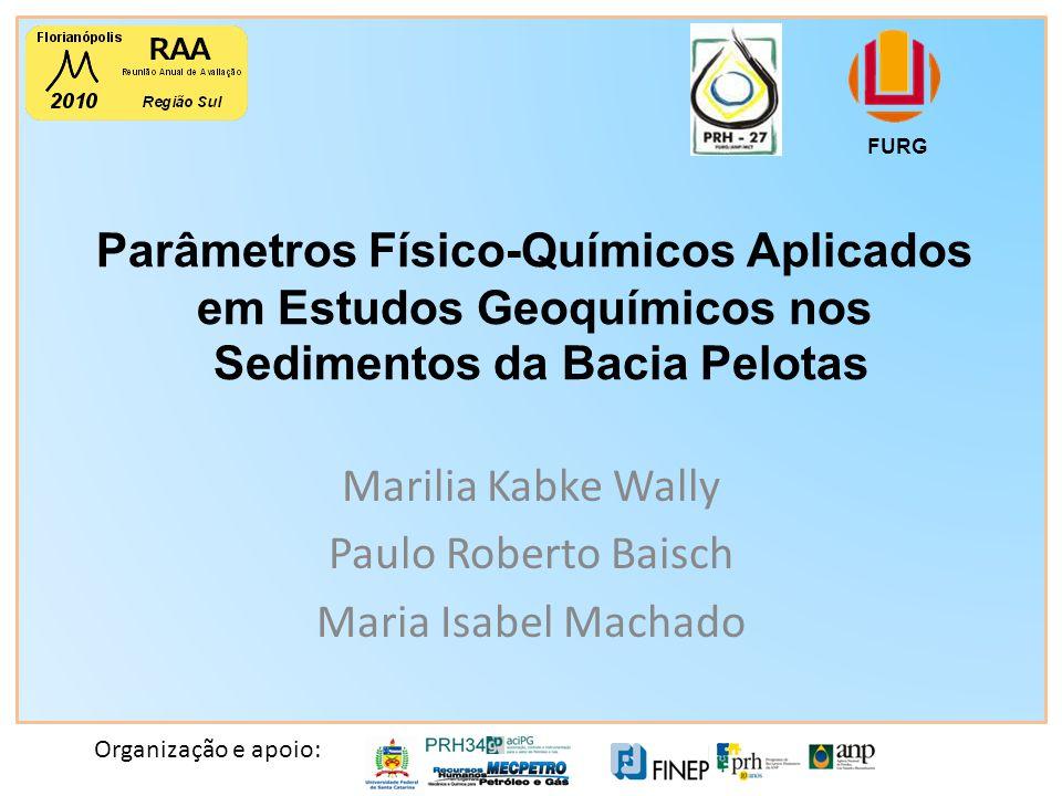 Organização e apoio: Parâmetros Físico-Químicos Aplicados em Estudos Geoquímicos nos Sedimentos da Bacia Pelotas FURG Marilia Kabke Wally Paulo Roberto Baisch Maria Isabel Machado