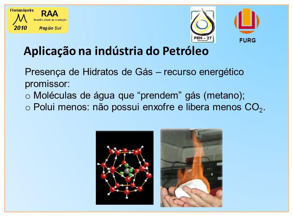 Aplicação na indústria do Petróleo FURG Presença de Hidratos de Gás – recurso energético promissor: o Moléculas de água que prendem gás (metano); o Polui menos: não possui enxofre e libera menos CO 2.