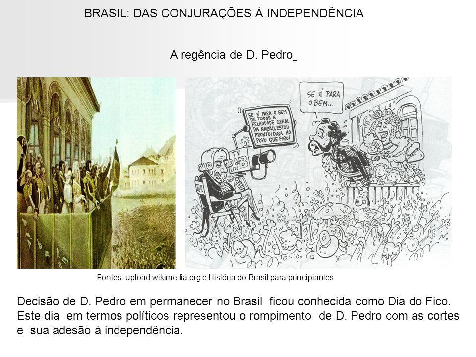 A regência de D. Pedro BRASIL: DAS CONJURAÇÕES À INDEPENDÊNCIA Fontes: upload.wikimedia.org e História do Brasil para principiantes Decisão de D. Pedr