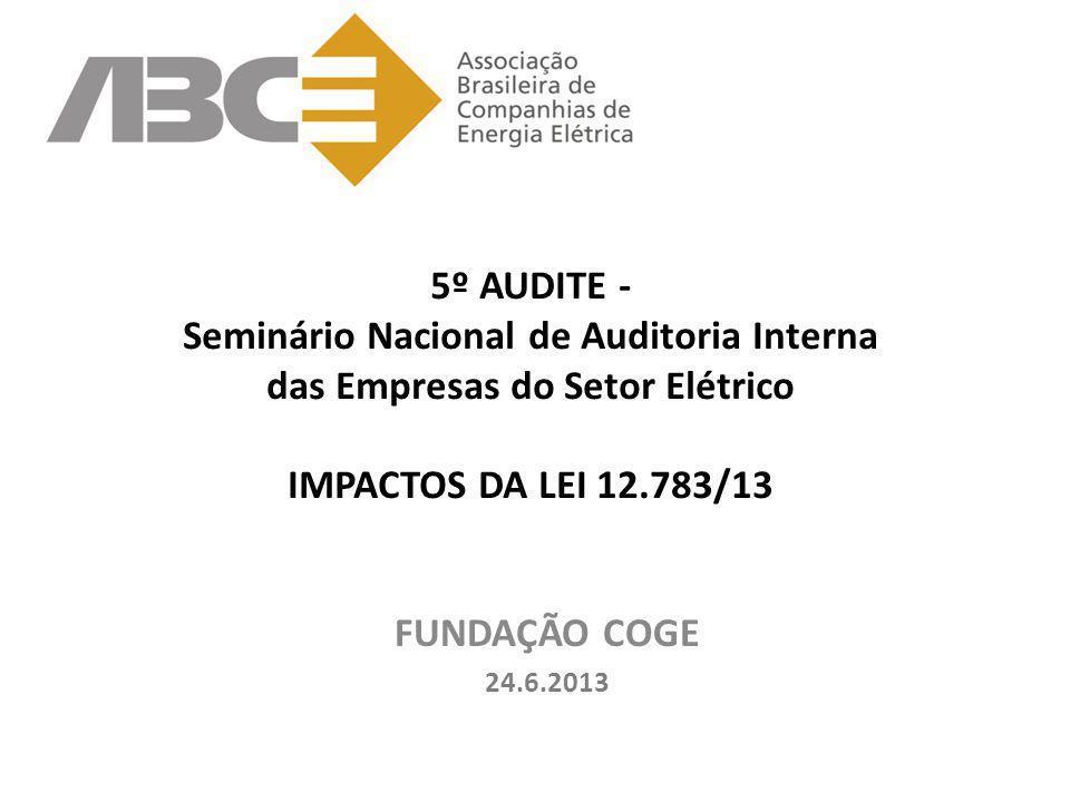 5º AUDITE - Seminário Nacional de Auditoria Interna das Empresas do Setor Elétrico IMPACTOS DA LEI 12.783/13 FUNDAÇÃO COGE 24.6.2013