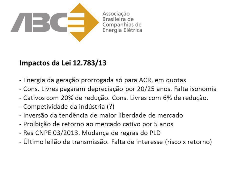 Impactos da Lei 12.783/13 - Energia da geração prorrogada só para ACR, em quotas - Cons. Livres pagaram depreciação por 20/25 anos. Falta isonomia - C