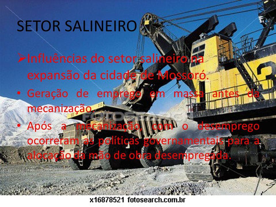 SETOR SALINEIRO Influências do setor salineiro na expansão da cidade de Mossoró.