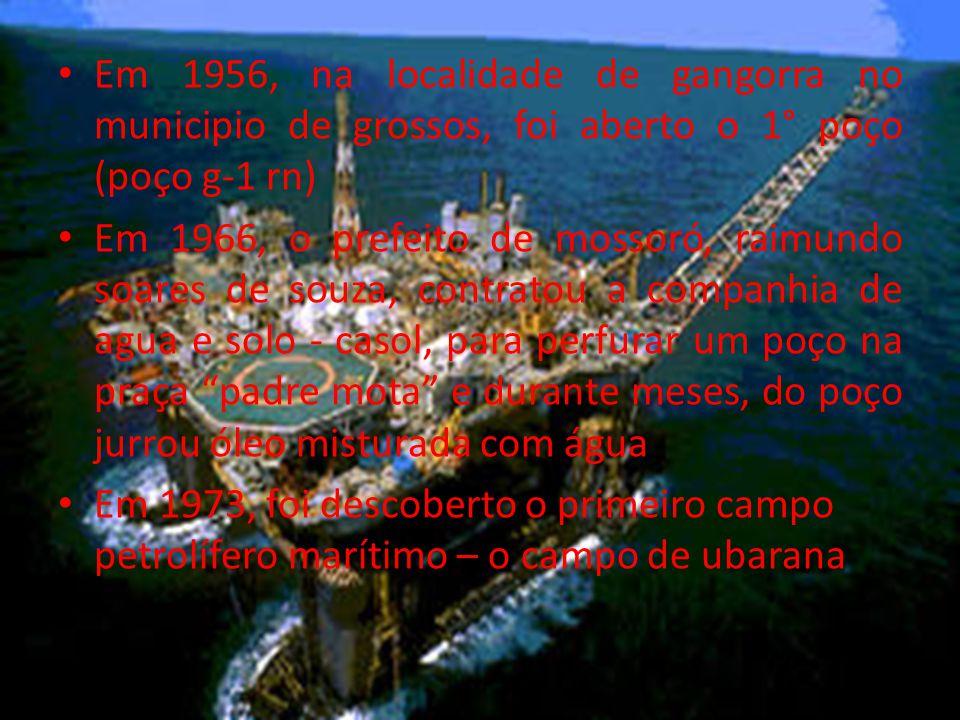 Em 1956, na localidade de gangorra no municipio de grossos, foi aberto o 1° poço (poço g-1 rn) Em 1966, o prefeito de mossoró, raimundo soares de souza, contratou a companhia de agua e solo - casol, para perfurar um poço na praça padre mota e durante meses, do poço jurrou óleo misturada com água Em 1973, foi descoberto o primeiro campo petrolífero marítimo – o campo de ubarana
