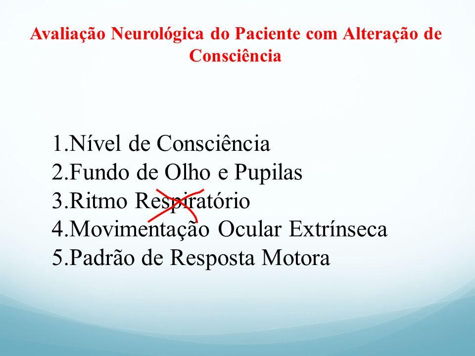 Avaliação Neurológica do Paciente com Alteração de Consciência 1.Nível de Consciência 2.Fundo de Olho e Pupilas 3.Ritmo Respiratório 4.Movimentação Oc