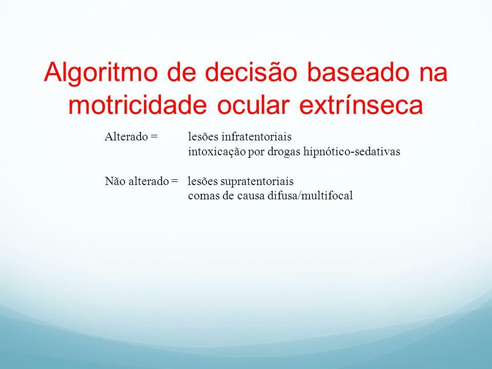 Algoritmo de decisão baseado na motricidade ocular extrínseca Alterado = lesões infratentoriais intoxicação por drogas hipnótico-sedativas Não alterad