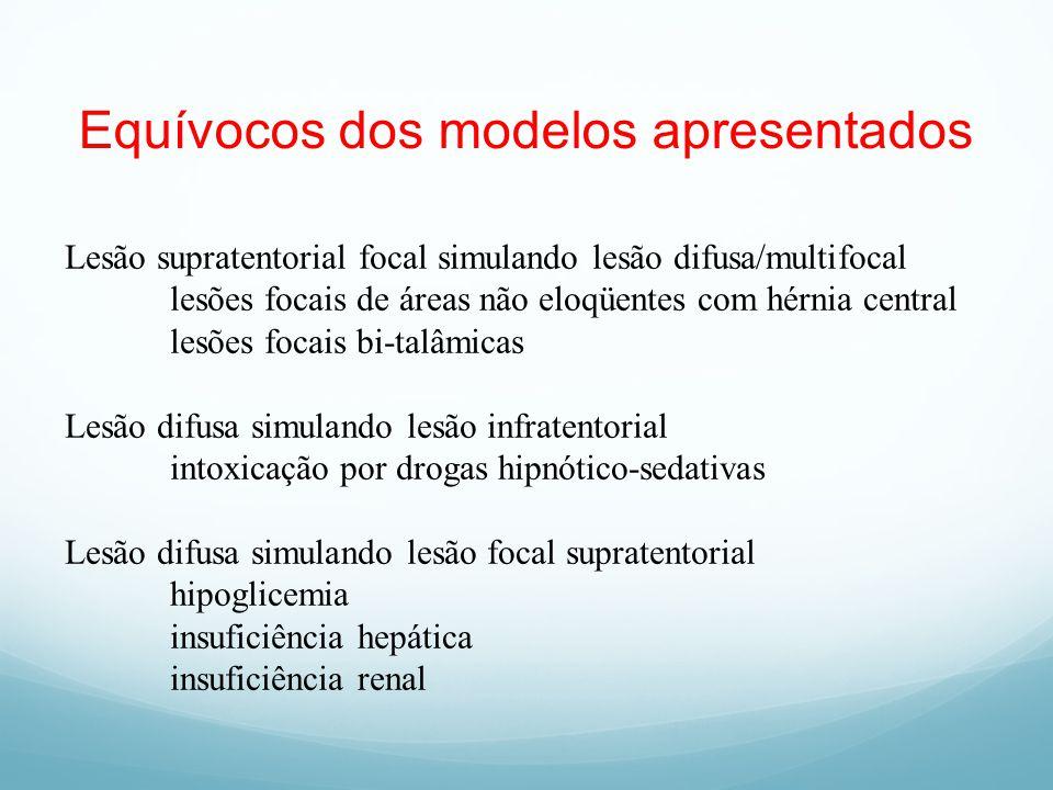 Equívocos dos modelos apresentados Lesão supratentorial focal simulando lesão difusa/multifocal lesões focais de áreas não eloqüentes com hérnia centr
