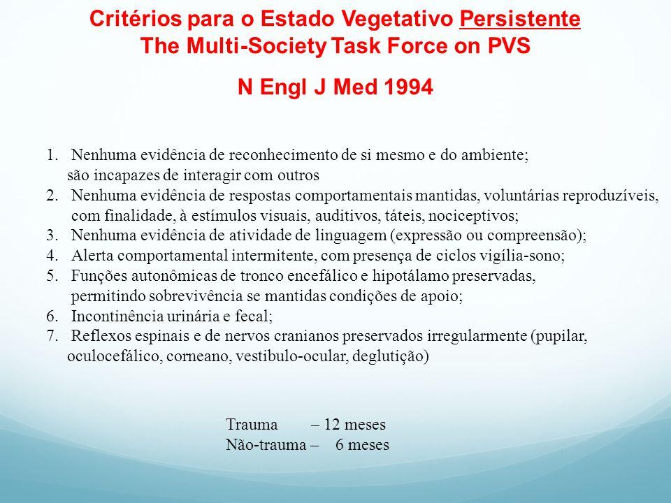 Critérios para o Estado Vegetativo Persistente The Multi-Society Task Force on PVS N Engl J Med 1994 1.Nenhuma evidência de reconhecimento de si mesmo