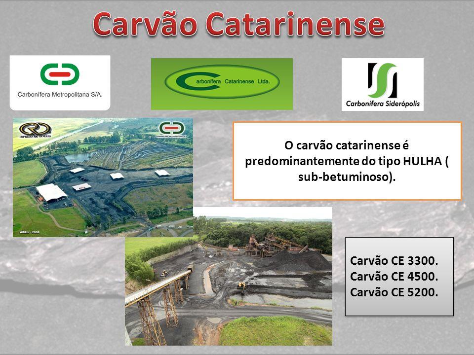 O carvão catarinense é predominantemente do tipo HULHA ( sub-betuminoso). Carvão CE 3300. Carvão CE 4500. Carvão CE 5200. Carvão CE 3300. Carvão CE 45