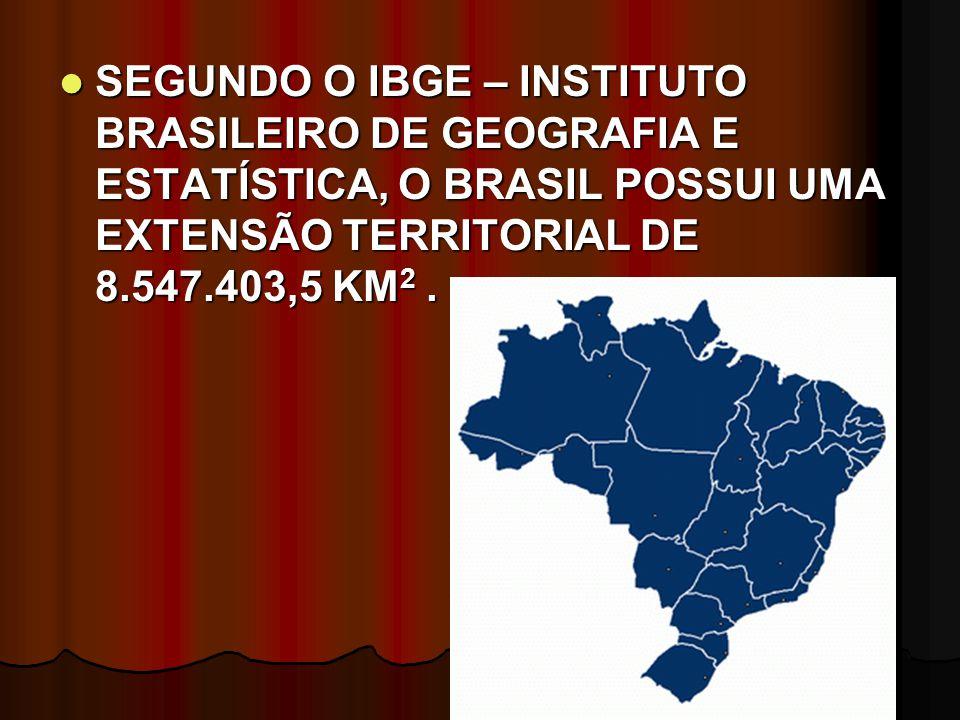 SEGUNDO O IBGE – INSTITUTO BRASILEIRO DE GEOGRAFIA E ESTATÍSTICA, O BRASIL POSSUI UMA EXTENSÃO TERRITORIAL DE 8.547.403,5 KM 2. SEGUNDO O IBGE – INSTI