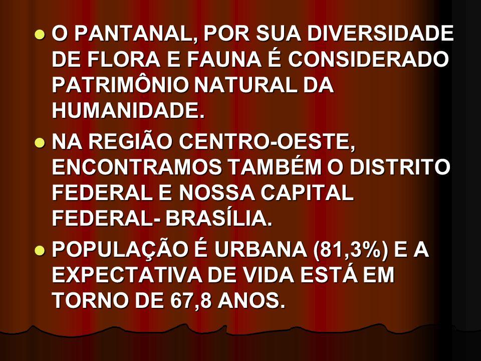 O PANTANAL, POR SUA DIVERSIDADE DE FLORA E FAUNA É CONSIDERADO PATRIMÔNIO NATURAL DA HUMANIDADE.