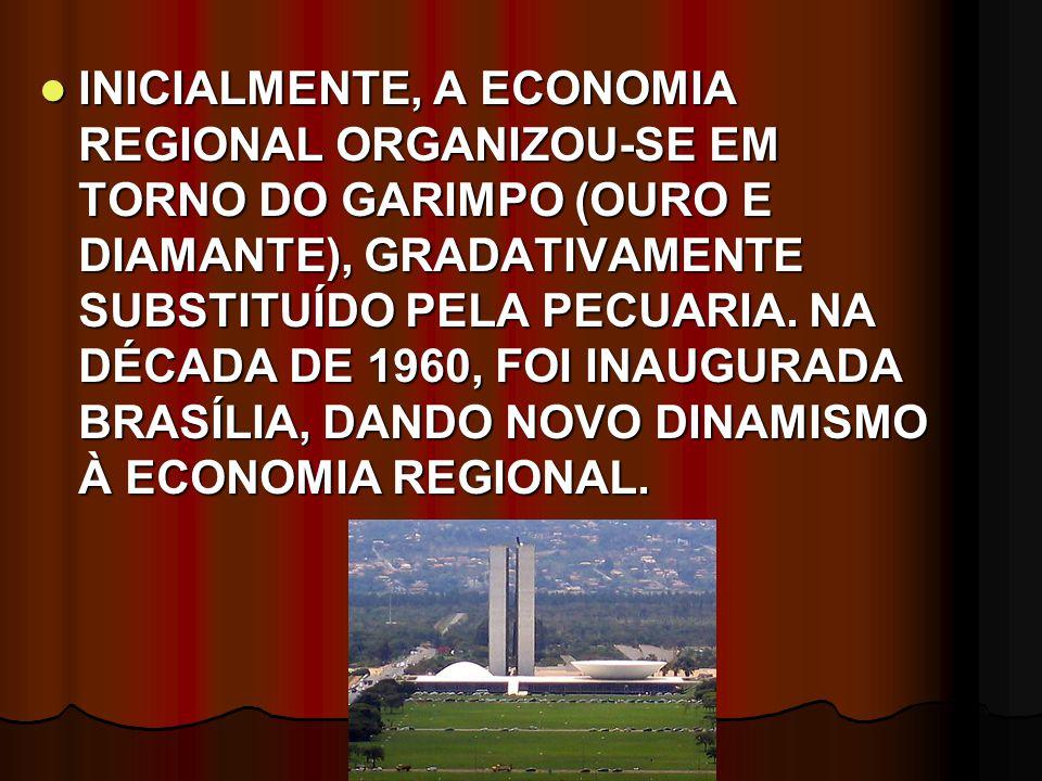 INICIALMENTE, A ECONOMIA REGIONAL ORGANIZOU-SE EM TORNO DO GARIMPO (OURO E DIAMANTE), GRADATIVAMENTE SUBSTITUÍDO PELA PECUARIA. NA DÉCADA DE 1960, FOI