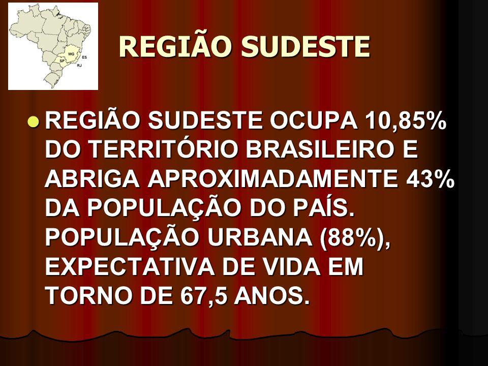 REGIÃO SUDESTE REGIÃO SUDESTE OCUPA 10,85% DO TERRITÓRIO BRASILEIRO E ABRIGA APROXIMADAMENTE 43% DA POPULAÇÃO DO PAÍS. POPULAÇÃO URBANA (88%), EXPECTA