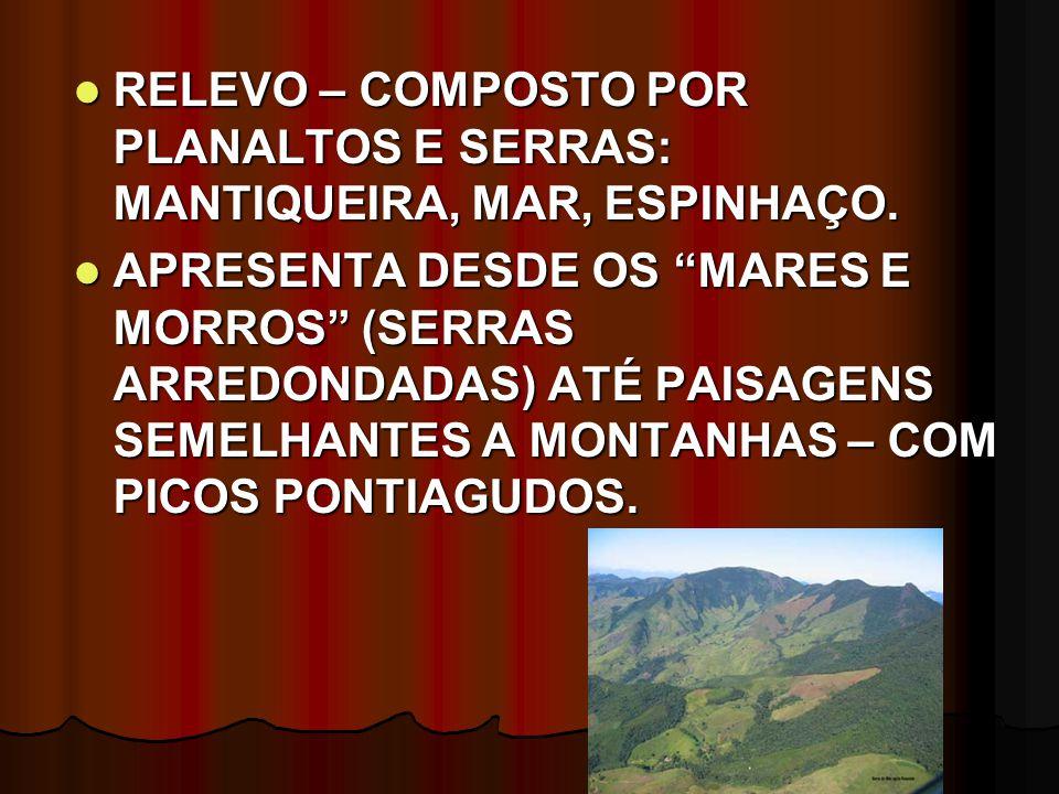 RELEVO – COMPOSTO POR PLANALTOS E SERRAS: MANTIQUEIRA, MAR, ESPINHAÇO.