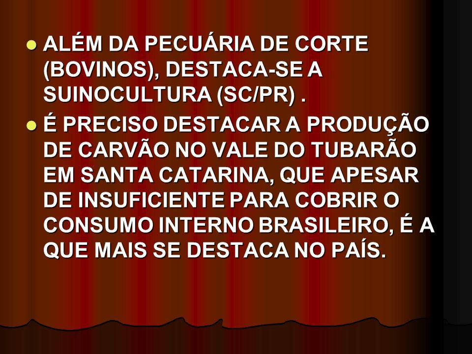 ALÉM DA PECUÁRIA DE CORTE (BOVINOS), DESTACA-SE A SUINOCULTURA (SC/PR). ALÉM DA PECUÁRIA DE CORTE (BOVINOS), DESTACA-SE A SUINOCULTURA (SC/PR). É PREC
