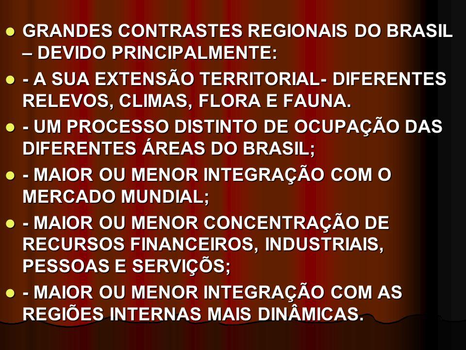 GRANDES CONTRASTES REGIONAIS DO BRASIL – DEVIDO PRINCIPALMENTE: GRANDES CONTRASTES REGIONAIS DO BRASIL – DEVIDO PRINCIPALMENTE: - A SUA EXTENSÃO TERRITORIAL- DIFERENTES RELEVOS, CLIMAS, FLORA E FAUNA.