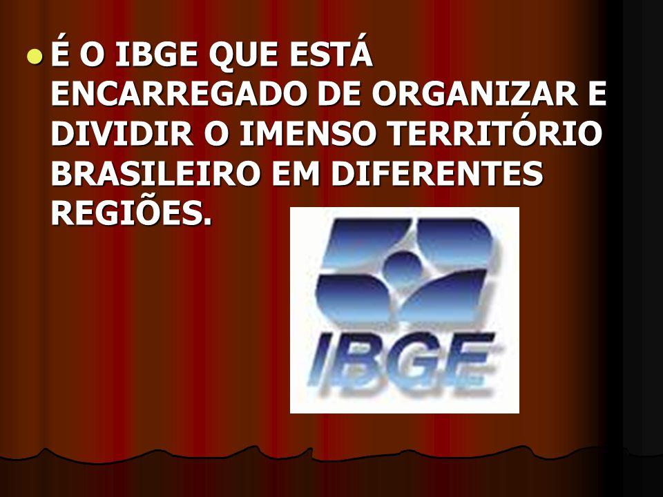 É O IBGE QUE ESTÁ ENCARREGADO DE ORGANIZAR E DIVIDIR O IMENSO TERRITÓRIO BRASILEIRO EM DIFERENTES REGIÕES. É O IBGE QUE ESTÁ ENCARREGADO DE ORGANIZAR