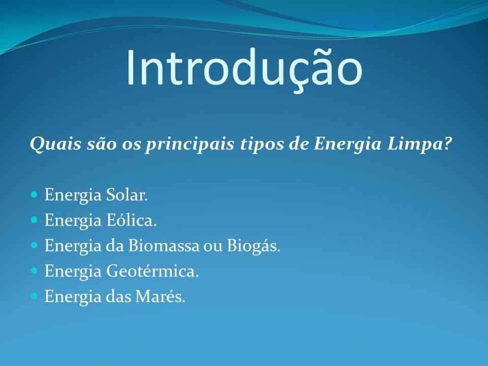 Introdução Quais são os principais tipos de Energia Limpa.