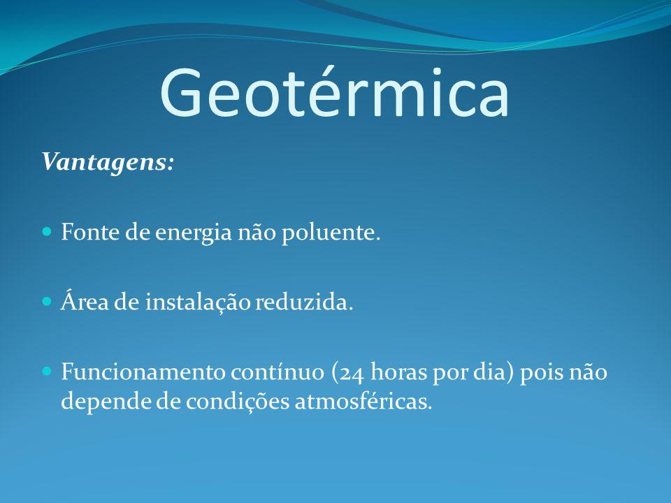 Vantagens: Fonte de energia não poluente.Área de instalação reduzida.
