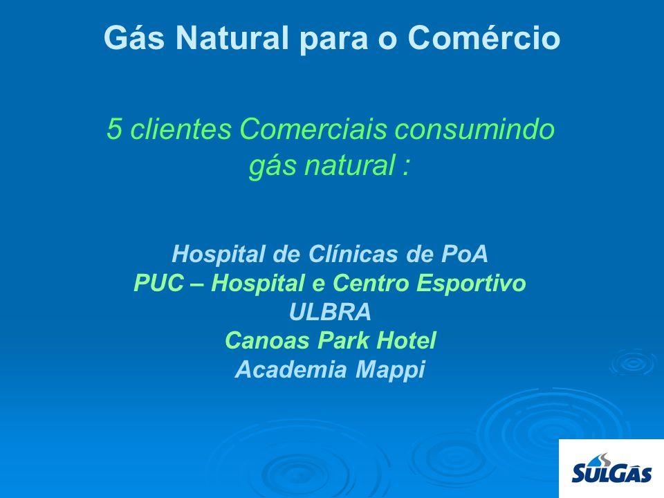 5 clientes Comerciais consumindo gás natural : Hospital de Clínicas de PoA PUC – Hospital e Centro Esportivo ULBRA Canoas Park Hotel Academia Mappi