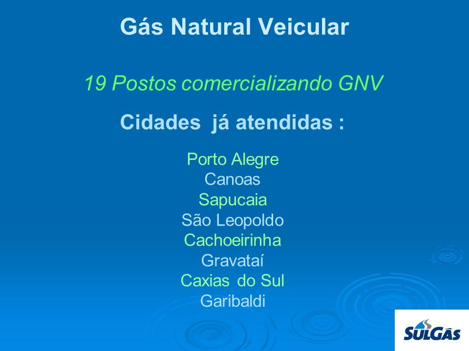 Gás Natural Veicular 19 Postos comercializando GNV Cidades já atendidas : Porto Alegre Canoas Sapucaia São Leopoldo Cachoeirinha Gravataí Caxias do Sul Garibaldi