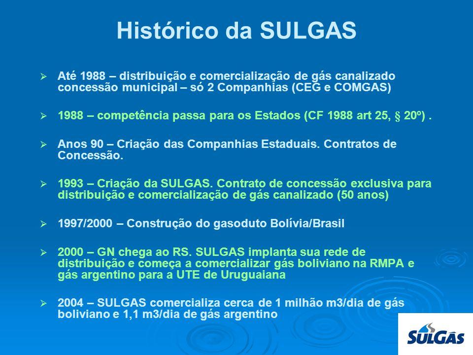 Histórico da SULGAS Até 1988 – distribuição e comercialização de gás canalizado concessão municipal – só 2 Companhias (CEG e COMGAS) 1988 – competência passa para os Estados (CF 1988 art 25, § 20º).