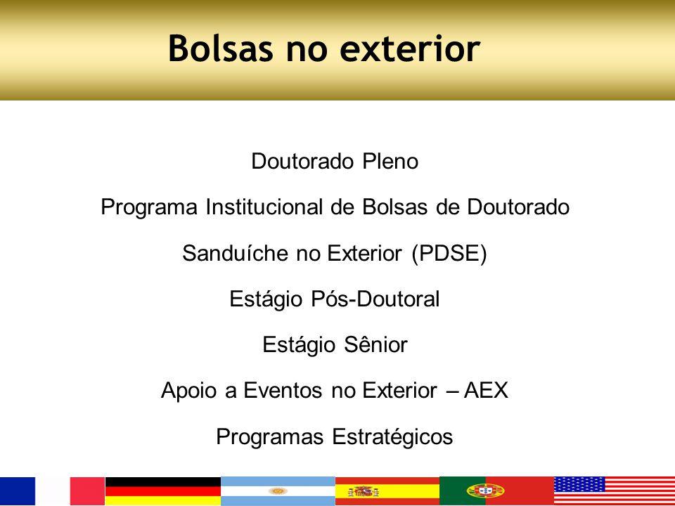 Bolsas no exterior Doutorado Pleno Programa Institucional de Bolsas de Doutorado Sanduíche no Exterior (PDSE) Estágio Pós-Doutoral Estágio Sênior Apoi