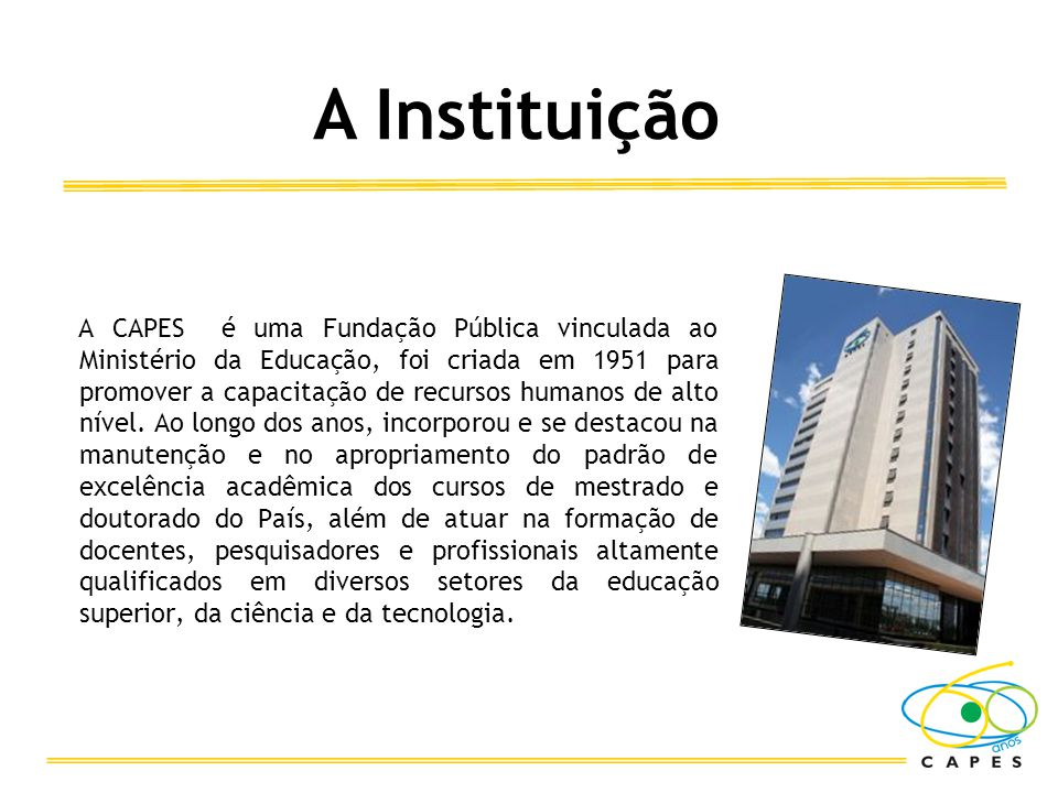 A CAPES é uma Fundação Pública vinculada ao Ministério da Educação, foi criada em 1951 para promover a capacitação de recursos humanos de alto nível.