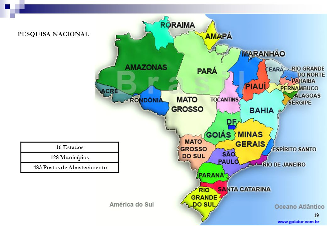 PESQUISA NACIONAL 16 Estados 128 Municípios 483 Postos de Abastecimento 19