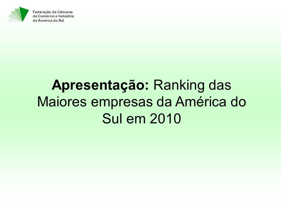 Federação de Câmaras de Comércio e Indústria da América do Sul Apresentação: Ranking das Maiores empresas da América do Sul em 2010