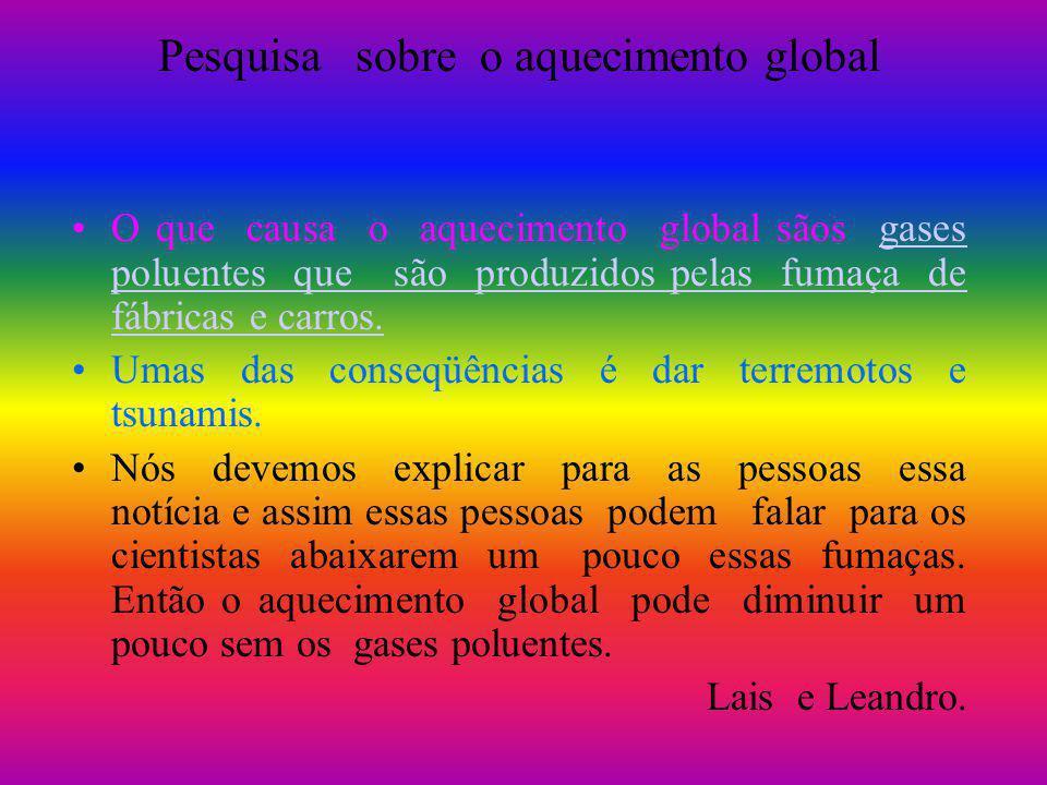 Pesquisa sobre o aquecimento global O que causa o aquecimento global sãos gases poluentes que são produzidos pelas fumaça de fábricas e carros.gases p