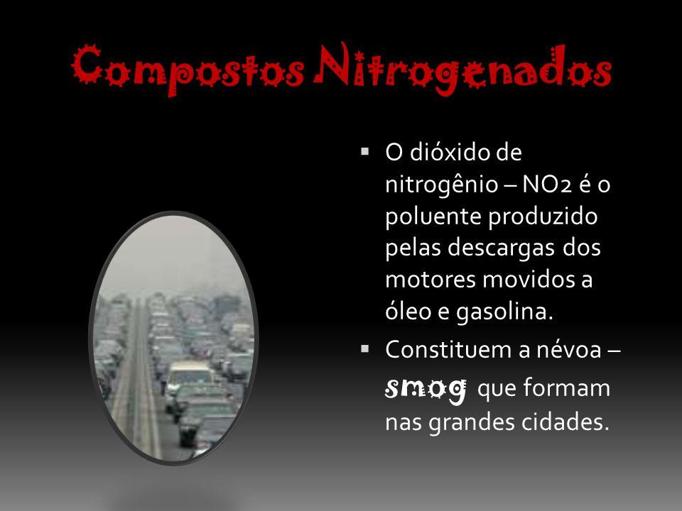 Compostos Nitrogenados O NO2 é altamente tóxico para as vias respiratórias, provocando o ENFISEMA PULMONAR.