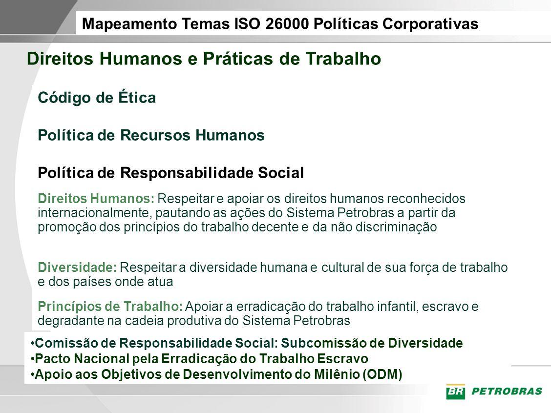 Mapeamento Temas ISO 26000 Políticas Corporativas Direitos Humanos e Práticas de Trabalho Código de Ética Política de Recursos Humanos Política de Res
