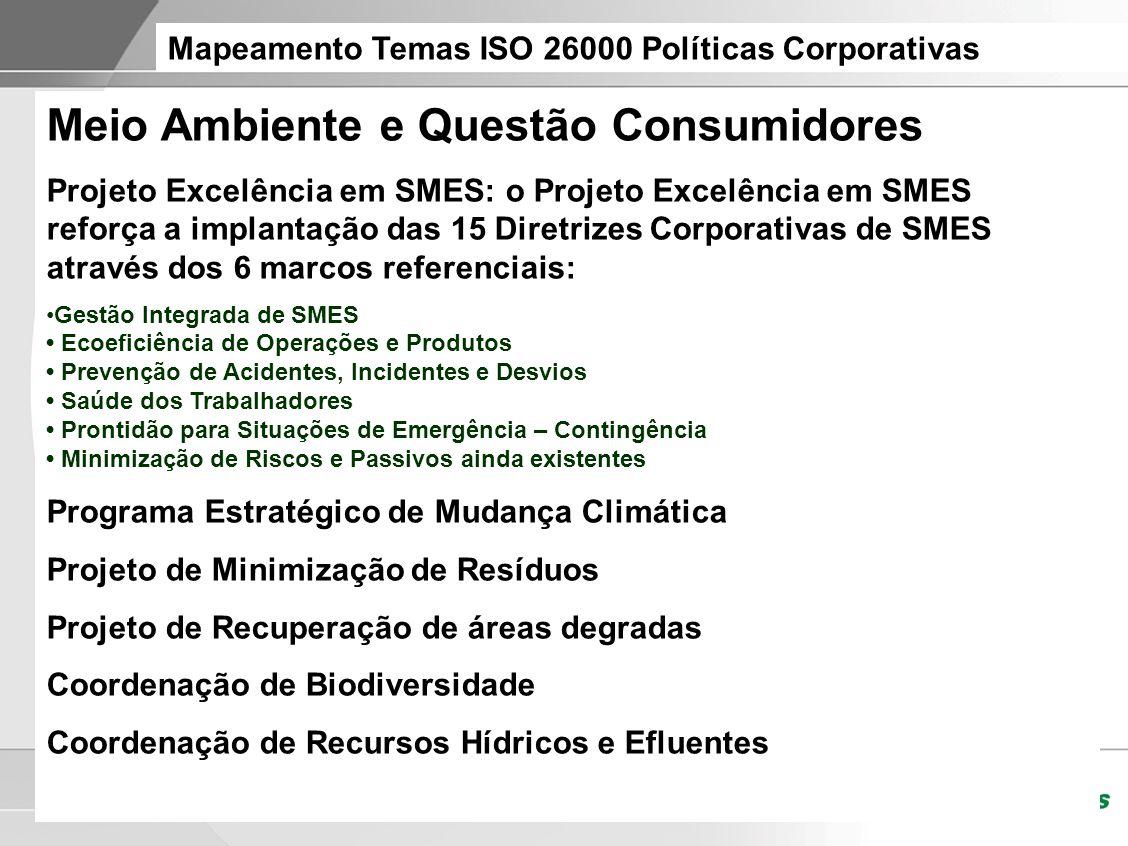 Mapeamento Temas ISO 26000 Políticas Corporativas Meio Ambiente e Questão Consumidores Projeto Excelência em SMES: o Projeto Excelência em SMES reforç