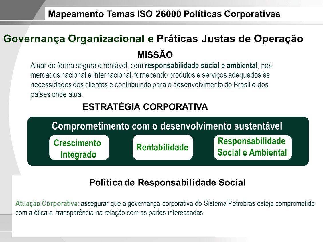 Mapeamento Temas ISO 26000 Políticas Corporativas Política de Responsabilidade Social Atuação Corporativa: assegurar que a governança corporativa do S